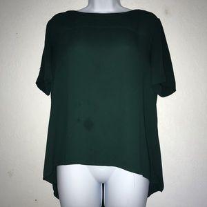 Loft Flowy Short Sleeve Poly Green Top S